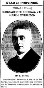 Overlijden burgemeester Boerema 01 02 1935